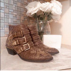Auth. Chloe Brown Snakeskin Susanna Boots